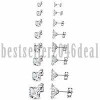 16PCS Square Cubic Zirconia Cut Stud Earrings Stainless Steel Mens Women  3-10mm