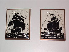 SILHOUETTE Reverse Painted SHIPS Wall Art Pictures Vintage ANTIQUE Pair