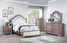 Luxurious Bedroom Furniture Queen Size bed Dresser Mirror Ns 4pc Set Tufted Hb