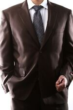 MENS SINGLE BREASTED 2 BUTTON BROWN DRESS SUIT SIZE 38L, PL-60212N-208-BRO