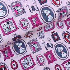Disney 101 Dalmatians pink family frames dogs 100% Cotton Fabric x HALF METRE
