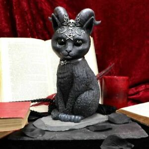 Nemesis Now  PAWZUPH  Large Horned Occult Cat  Pagan Gothic Witchcraft Vamp
