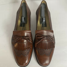 COLE HAAN Mens Dress Shoes #11602 Brown Woven Leather KIltie Bow Sz 11.5D