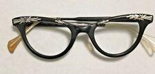Vintage Women's Black Frame Eyeglasses With Silver Ornament 42x20 5.5� Cateye