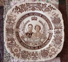ROYAL COMMERATIVE PLATE Brn Transfer 1939 KING GEORGE VI QUEEN ELIZABETH Canada