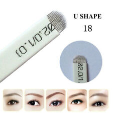 100pcs Microblading Eyebrow Blades Shading Needles Tattoo Curved Manual 18U Pin