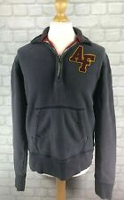 Men's Abercrombie & Fitch Zip Neck Embroidered Sweatshirt Jumper Size Medium