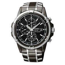 New Seiko Men's Solar Chronograph Black Dial Two Tone Watch SSC143