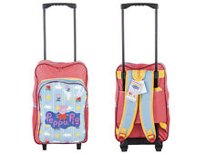 Peppa Pig Girls Wheeled Trolley Backpack Kids Hand Luggage Travel School Bag Pink