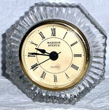 Not Tested 24% Lead Crystal Clock Madison Avenue Mid Century Modern Style Leaded