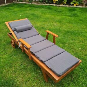 Garden Sun Lounger Cushion Pad Shower Proof Removable Head Cushion - Slate Grey