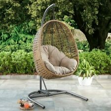 Outdoor Egg Hanging Chair Wicker Porch Beige Cushion Steel Frame Study New
