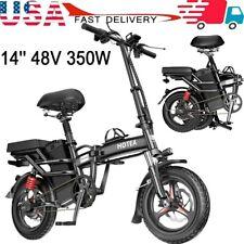 14'' 48V 350W Folding Electric Bike Bicycle City Ebike 2 Disc Brake For Adults