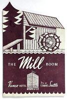 1950's Vintage BEER & COCKTAILS Die-Cut Menu VANCE HOTEL MILL ROOM Seattle WA