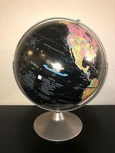 Replogle 12 Inch Starlight Black Globe Raised Relief Metal Base Made in USA