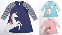 EX-BODEN GIRLS JERSEY BIG APPLIQUE DRESS UNICORN-DUCK-ROBIN BNWOT AGES 2-12