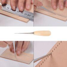 Leather Wood Handle Awl Tools Hand Stitcher Leathercraft Sewing Awl Needle Kit