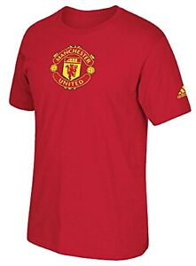 Manchester United Adidas Soccer Team Crest Red Performance T-Shirt Men's Large L