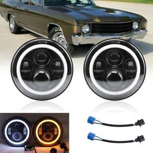 For Chevy Chevelle 1971,1972,1973,1976,1977,1978 7 Inch Round LED Headlight Pair