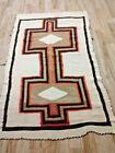 "Antique Navajo Rug 63""x 38"" Native American Weaving Orange Brown Tan Some Flaws"