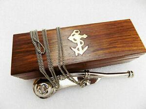 Brass Boatswain Navy Ship Bosun's Whistle Chain W/Nautical Designer Wooden Box