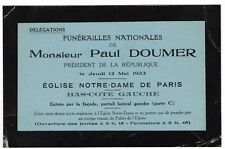 CARTE D'INVITATION AUX FUNERAILLES NATIONALES DE PAUL DOUMER AN NOTRE-DAME