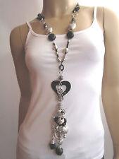 Modekette lang Damen Hals Kette Modeschmuck Lagenlook Silber Schwarz Herz B5