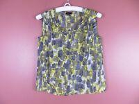 TB03471- TALBOTS Woman 100% Silk Sleeveless Tunic Lightweight Multi-Color Geo 4P