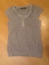 GIRLS STAR BY JULIEN MACDONALD GREY STRIPE CAP SLEEVE LONG TOP AGE 7/8