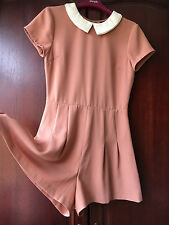 Topshop super cute tan beige white peter pan collar playsuit jumpsuit uk 8 S