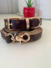 Luxury dog monogram collar with matching leash set combo fashionable brownLarge