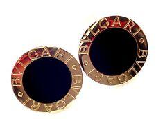 Authentic! Bvlgari Bulgari 18k Yellow Gold Black Onyx Cufflinks
