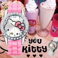 Hello Kitty Watch Pink Strap Rhinestone Cartoon W2A