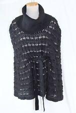 AK ANNE KLEIN Knit Poncho Sweater LARGE Black Turtleneck Belted Cotton Wool $129