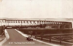 Dundee Tay Bridge From North Dundee Vintage Car Postcard c1931