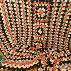 Vintage Blue Orange Knitted Crochet Wool Blanket / Throw / Single Bedspread