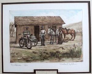 ☆ SiGNED M.KOHLER Aqua-Tint Etching INDIAN Motorcycle Print Ltd Ed 1/250 HORSE