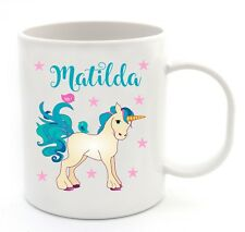 Personalised Kids Unicorn Design Plastic Cup Fun Birthday Christmas Gift Idea