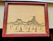 Landscape Drawing Signed Art Wood Framed Mexico Original Cactus Mountains Pencil