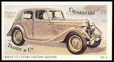 Riley 1 1/2- Litre Falcon Saloon #4 Motor Cars,Taddy & Co Cigarettes Card (C144)