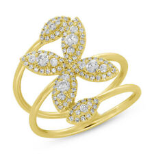 0.60CT 14K Yellow Gold Natural Round Cut Diamond Open Wrap Flower Cocktail Ring
