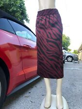 NWT ZARA MULTI COLOR RED BLACK ANIMAL PRINT PENCIL SKIRT HIDDEN ZIP SIZE XS #677