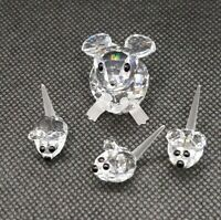 SWAROVSKI Crystal Jumbo Mice & Miniature Baby Mice family Figurines Collectible