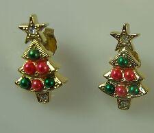 Avon CHRISTMAS TREE Pierced Earrings Gold-tone with Red & Green + Rhinestones