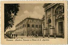 1945 Piacenza - Stradone Farnese e Chiesa di Sant' Agostino - FP B/N VG ANIM