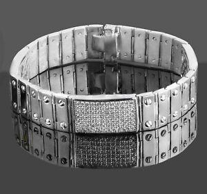 "4.90 Ct Men's ID Screw Link Real Diamond Bracelet 14k Solid White Gold 59.4 g 8"""