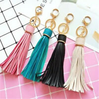 New Faux Leather Tassel Pendant Keyring Bag Purse Key Chain Handbag Accessories