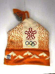 Vintage 100% Wool 1988 Calgary Winter Olympics Knit Toque Beanie Hat Orange