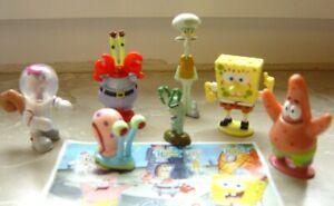 Rare lot série Kinder bob l'éponge complète 7 figurines + 1 BPZ