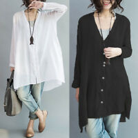 ZANZEA 10-24 Women Button Down Shirt Blouse Tee Long Sleeve Plus Size Tunic Top